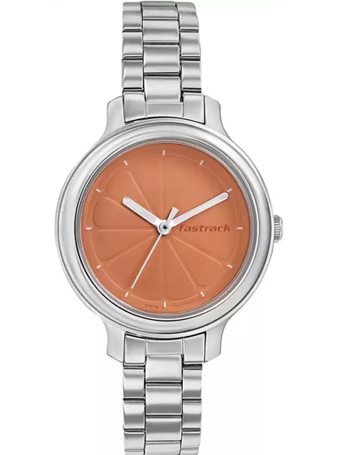 Fastrack Orange Dial Stainless Steel Strap Watch-6202SM01