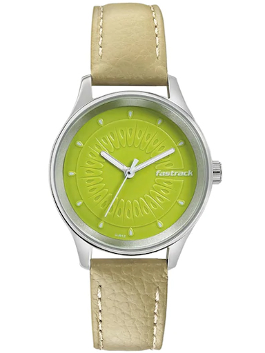 fastrack green dial leather strap watch-6203SL01