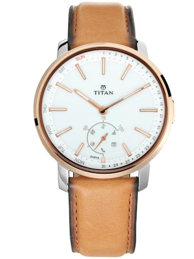 titan connected hybrid smart watch white dial & leather strap men's watch 1785kl01-1785KL01