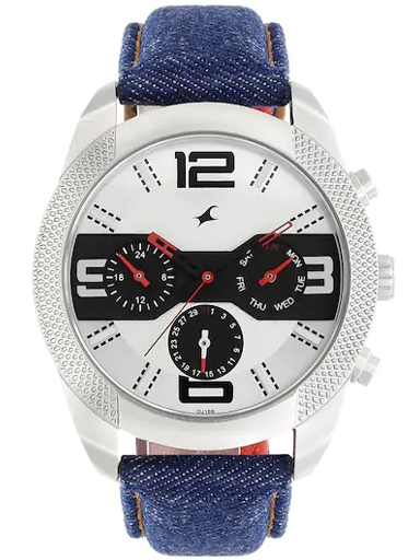 Fastrack Multi function White Dial Denim Strap Watch-3187SL01