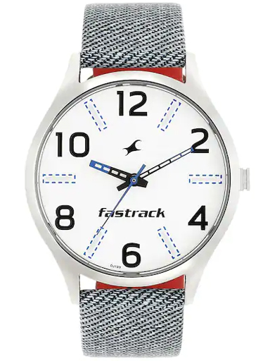fastrack white dial blue leather strap watch-3184SL01