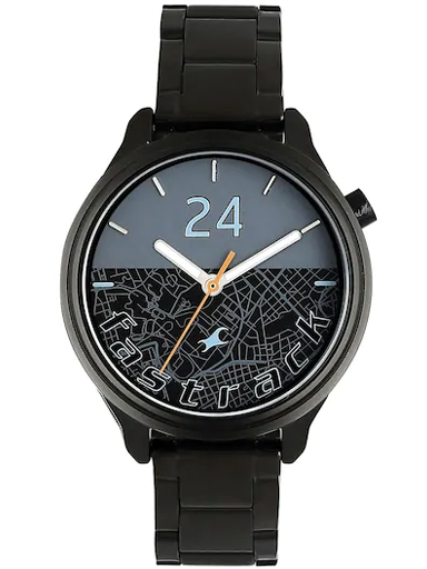 fastrack road trip blue dial stainless strap watch-6188NM01