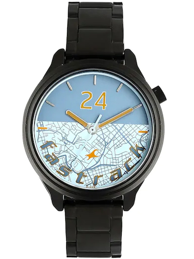 fastrack road trip bicolour dial stainless steel strap watch-6188NM02