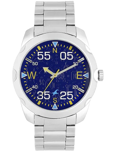 fastrack road trip purple dial stainless steel strap watch-3123SM06