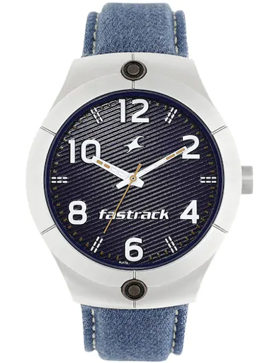 fastrack black dial blue denim strap watch-3191SL01