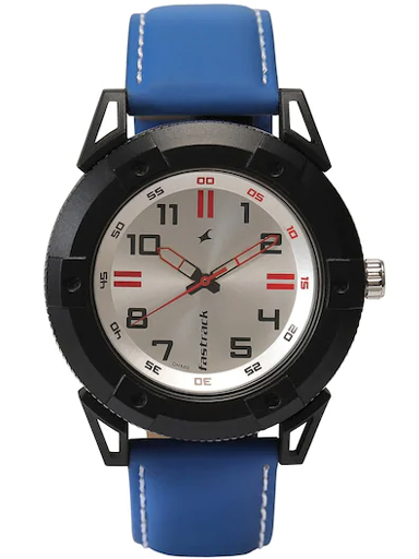 fastrack analog silver dial men's watch-3182KL26