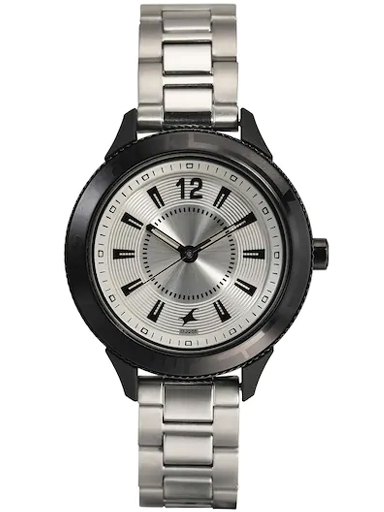 fastrack womens silver dial analogue watch-6176KM14