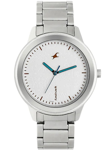 fastrack road trip analog white dial women's watch-6190SM01