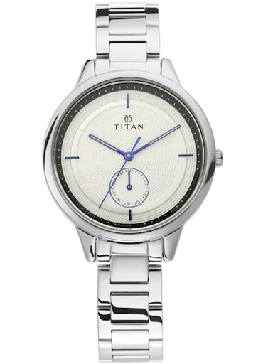 Titan Work Wear White Dial Stainless Steel Strap Women's Watch 2617SM02-2617SM02
