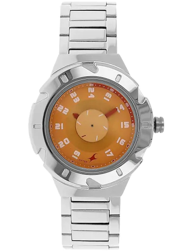 fastrack orange dial silver stainless steel strap watch-6157SM02