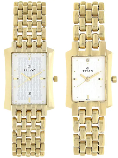 Titan Bandhan Silver Dial Golden Stainless Steel Strap Watches NL19272927YM01-NL19272927YM01