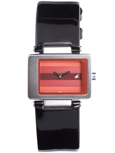 fastrack red dial black leather strap watch-NA2404SL03
