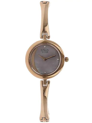 titan raga moonlight mother of pearl dial metal strap women's watch nl2553wm01-NL2553WM01