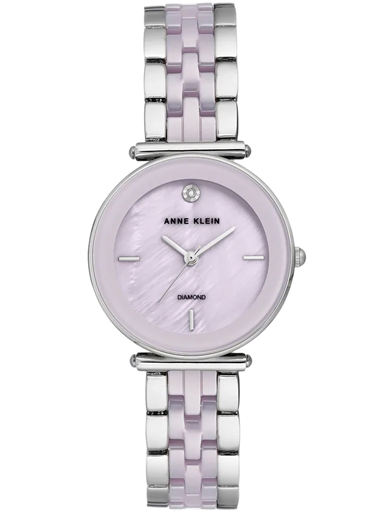 Anne Klein Pink Dial Ceramic Strap Watch-AK3159LVSV