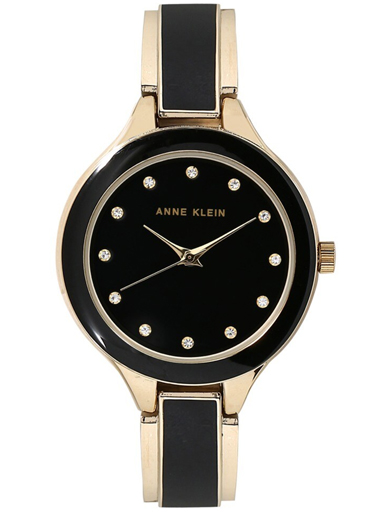 Anne Klein Black Dial Two Toned Metal Strap Watch-AK2934BKGB