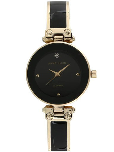 Anne Klein Black Dial Two Toned Metal Strap Watch-AK1980BKGB