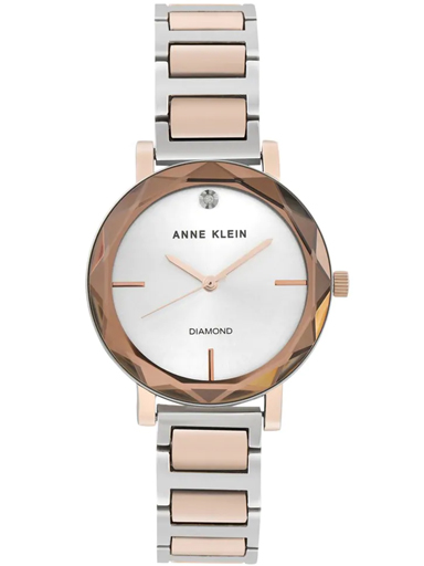 Anne Klein Womens Silver Dial Analogue Watch-NBAK3279SVRT