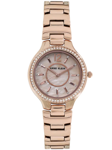 Anne Klein Mother of Pearl Dial Stainless Steel Strap Watch-NBAK1854RMRG