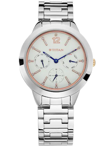 titan work wear white multi-function dial stainless steel strap watch nl2588km01-NL2588KM01