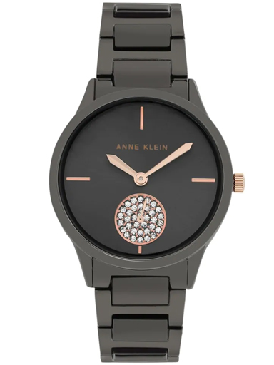 Anne Klein Round Analog Grey Ladies Watch-AK3417GYRT