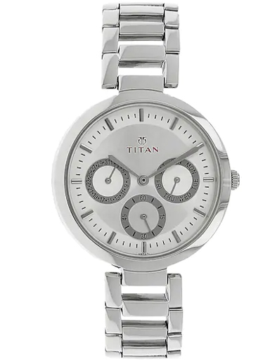 titan multi-function silver dial silver stainless steel strap watch for women nl2480sm03-NL2480SM03