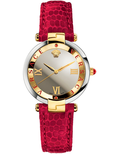 Versace Revive Silver Mirror Dial Leather Ladies Watch-VAI220016