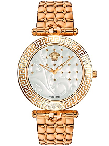 Versace Vanitas Silver Quilted Dial Rose Gold-tone Ladies Watch-VK7240015