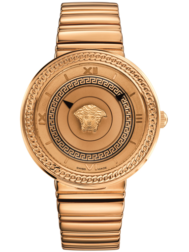 Versace V-Metal Rose Gold Dial Ladies Watch-VLC090014
