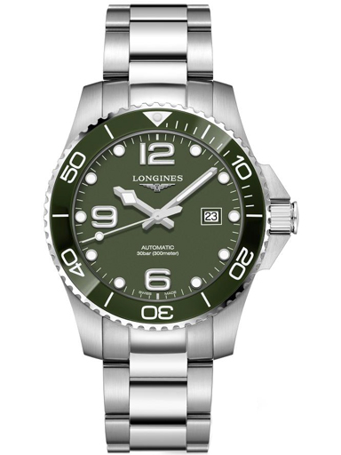 longines hydroconquest green dial stainless steel men's watch-L3.782.4.06.6