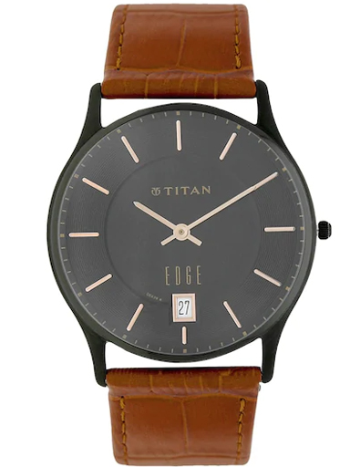 titan edge black dial brown leather strap men's watch nk1683nl01a-NK1683NL01A