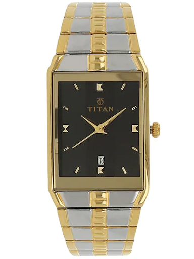 titan black dial two toned stainless steel strap men's watch nl9151bm02-NL9151BM02