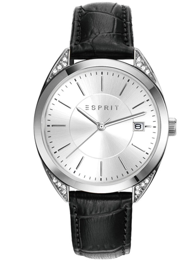 ESPRIT Silver Dial Black Leather Strap Women's Watch ES108972002-ES108972002