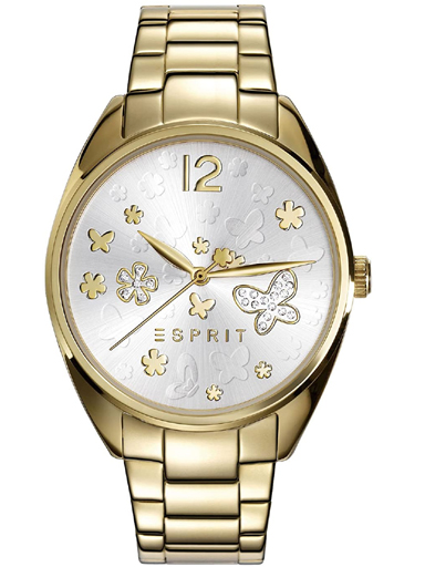 ESPRIT Silver Dial Gold Metal Strap Women's Watch ES108922002-ES108922002