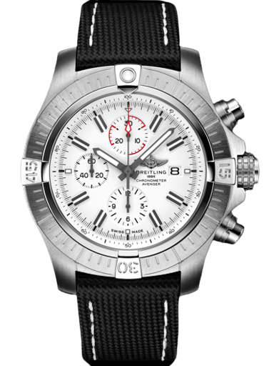 Breitling Super Avenger Chronograph 48 Stainless Steel - White Watch-A133751A1A1X1