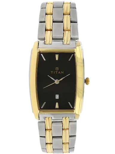 titan black dial silver stainless steel strap men's watch nl1163bm02-NL1163BM02