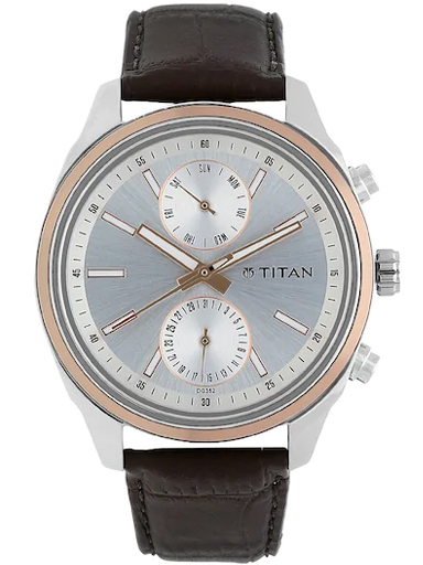 titan on trend silver dial brown leather strap men's watch nl1733kl02-NL1733KL02
