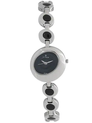 titan black dial silver metal strap watch for women nl2485sm02-NL2485SM02
