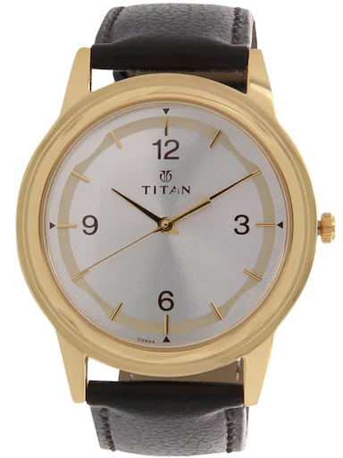 titan silver dial brown leather strap men's watch nl1638yl01-NL1638YL01