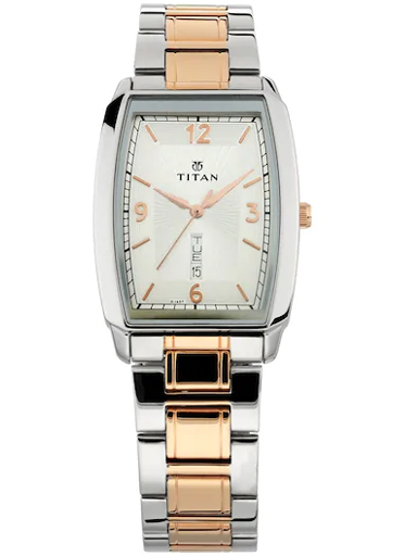 titan silver dial two tone stainless steel strap men's watch 1737km01-1737KM01