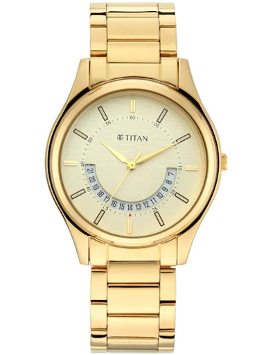 titan lagan - champagne dial gold metal strap men's watch 1713ym06-1713YM06