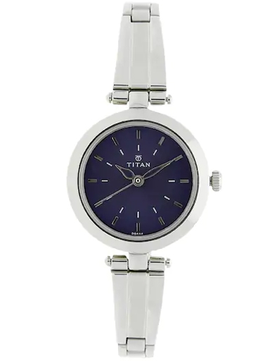 titan blue dial silver stainless steel strap watch for women nm2574sm01-NM2574SM01