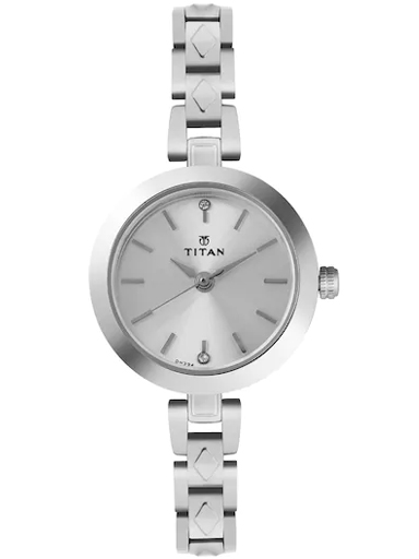 titan silver dial silver stainless steel strap watch for women nm2598sm01-NM2598SM01