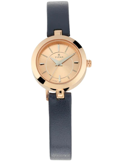 titan rose gold dial blue leather strap watch for women nm2598wl01-NM2598WL01