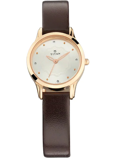 titan silver dial brown leather strap women's watch 2628wl01-2628WL01