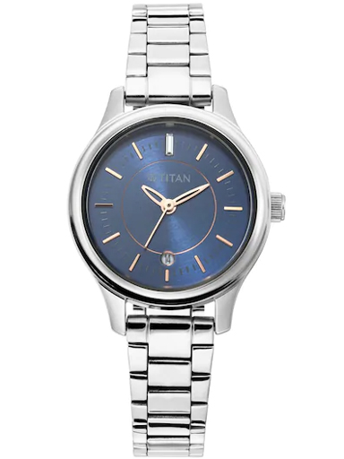 titan blue dial silver stainless steel strap women's watch 2638sm01-2638SM01