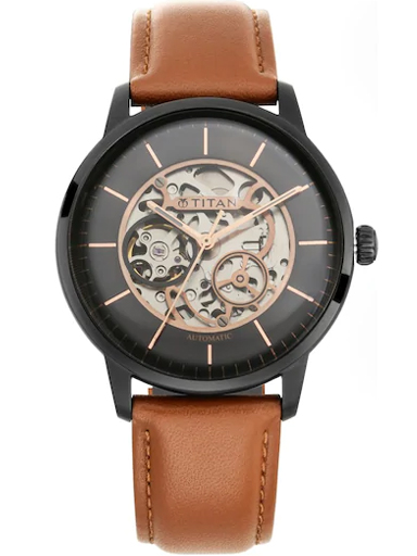 titan automatic black dial tan brown leather strap men's watch 90110nl01-90110NL01