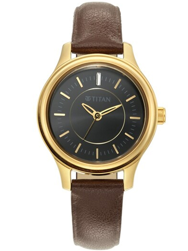 titan black dial brown leather strap watch for women 2638yl01-2638YL01