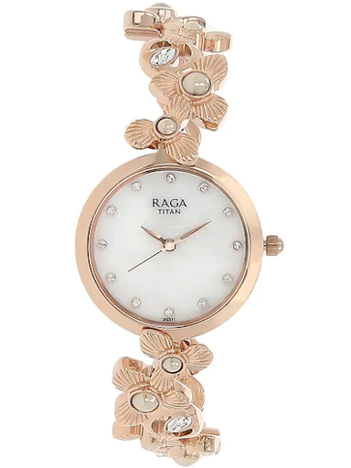 titan raga aurora mother of pearl dial metal strap women's watch nj95048wm01-NJ95048WM01