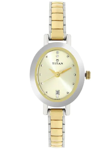 titan champagne dial two toned stainless steel strap women's watch nl2599bm01-NL2599BM01