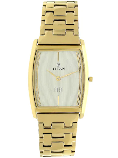 titan edge champagne dial gold stainless steel strap men's watch nm1044ym07-NM1044YM07